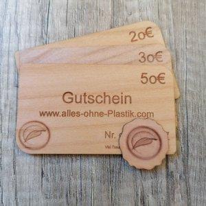 Gutschein aus Holz